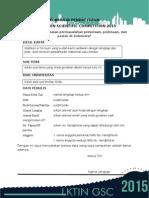 Formulir Pendaftaran Gsc 2015