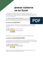 Cómo Generar Números Aleatorios en Excel