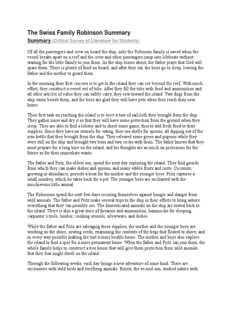 the swiss family robinson summary the swiss family robinson nature