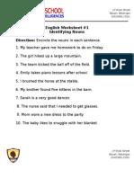 English Worksheet #1 - Identifying Nouns