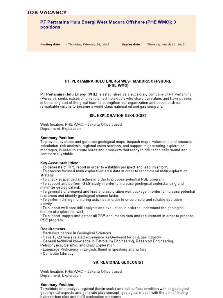 Job Vacancy | Engineering | Geothermal Energy