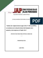 ProAnálisis del  régimen laboral según el DL N° 1086 Ley MYPE y su incidencia en la situación laboral del trabajador de la pequeña y microempresa en Trujillo 2014
