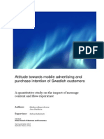 Attitude Towards Mobile Advertising and Purchase Intention of Swedish Customers