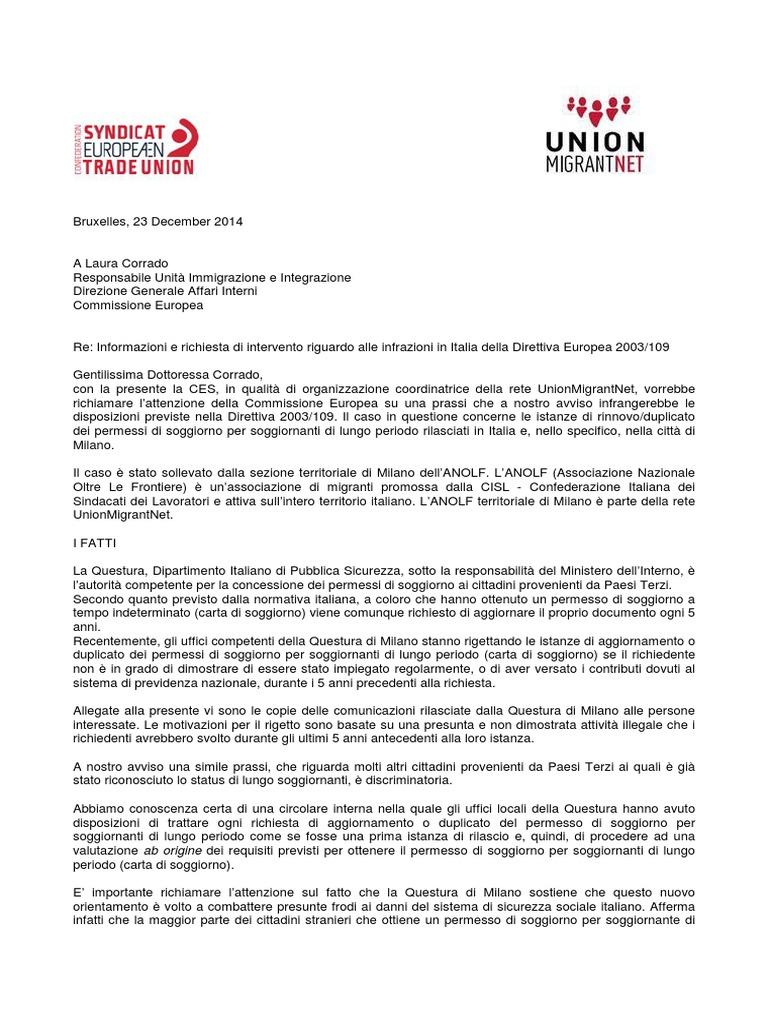 Letra drejtuar Komisionit Europian   Italy   Milan
