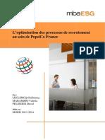 Thèse Professionnelle - L'optimisation des processus de recrutement au sein de PepsiCo France