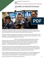 Bond Investors Grumble at Buyback Bonanza - FT