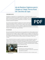 Aprovechamiento de Residuos Orgánicos Para La Producción de Biogás