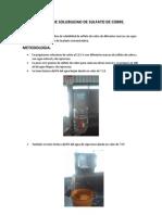 Prueba de Solubilidad de Sulfato de Cobre