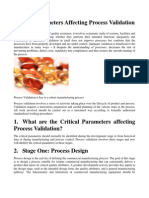Critical Parameters Affecting Process Validation