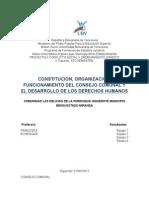 Constitucion, Organización, Funcionamiento Del Consejo Comunal y El Desarrollo de Los Derechos Humanos