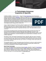 Trojan Aquisition of OpenCEL Press Release - Oct 2011