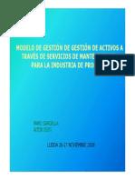 Modelo de Gestión de Activos a Través de Servicios de Mantenimiento Para La Industria de Procesos