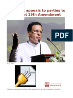 President Appeals to Parties to Help Adopt 19th Amendment