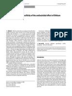 Antisuicidal Effect of Lithium