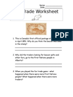fur trade worksheet