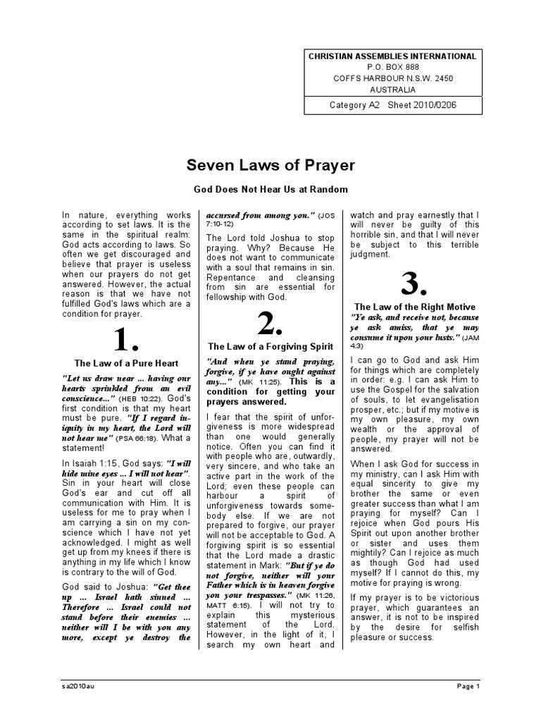 seven laws of prayer prayer sin