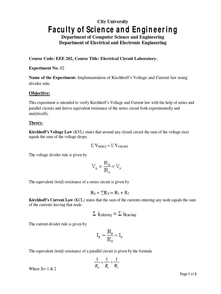 Eee 202 Lab Experiment Sheet Series And Parallel Circuits Voltage Formula For Resistance In Circuit