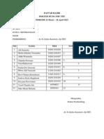 Daftar Hadir Tentiran Dr Djoko
