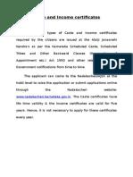 Caste and Income Certificatesr