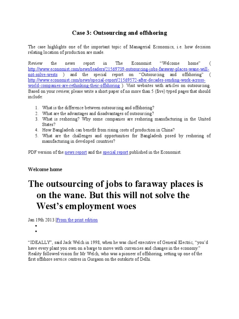 offshoring advantages and disadvantages