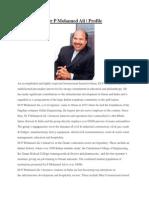 Dr P Mohamed Ali | Profile