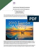 Speech at 2010 IIM Investor Meeting