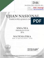 Pembahasan Soal UN Matematikajln SMA Program IPA 2012 Paket D46 Zona D