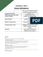 Chemistry Notes Moles