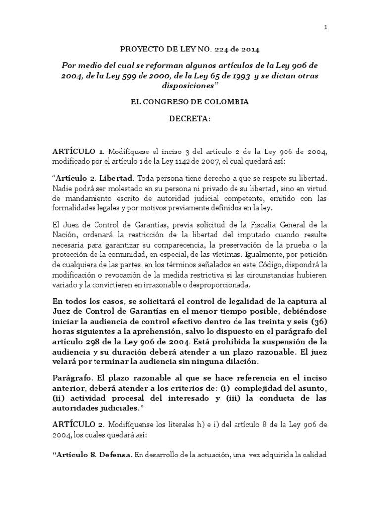 Proyecto de Ley N°224 de 2015 - Reforma Sistema Penal Acusatorio