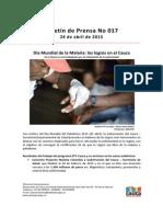 Boletin 017_ Día Mundial de La Malaria_ Los Logros en El Cauca