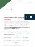 phs curriculum & pedagogy feedback form