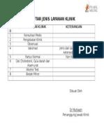 Daftar Jenis Layanan Klinik