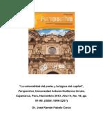 Fabelo Corzo, José R. La Colonialidad Del Poder y La Lógica Del Capital - Perspectiva, Perú, 2013, No. 16