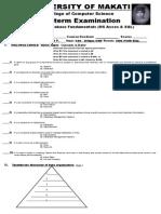 MELJUN CORTES UMAK COMFUN Midterm Exam Database Fundamental JAN 24 2015