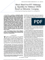 A Block-By-Block Blind Post-FFT Multistage Beam Forming Algorithm for Multi User OFDM Systems Based on Sub Carrier Averaging