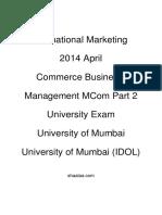 Shaalaa.com - शाला.com - International Marketing - 2014 April - Commerce Business Management MCom Part 2 - University Exam - University of Mumbai - University of Mumbai (IDOL) - 2014-09-11