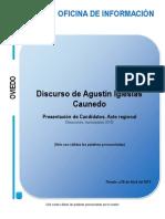 Intervención de Caunedo en el acto de presentación de candidatos a los municipios de Asturias