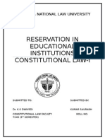 Constitutional Law -Reservation in Educational Institution