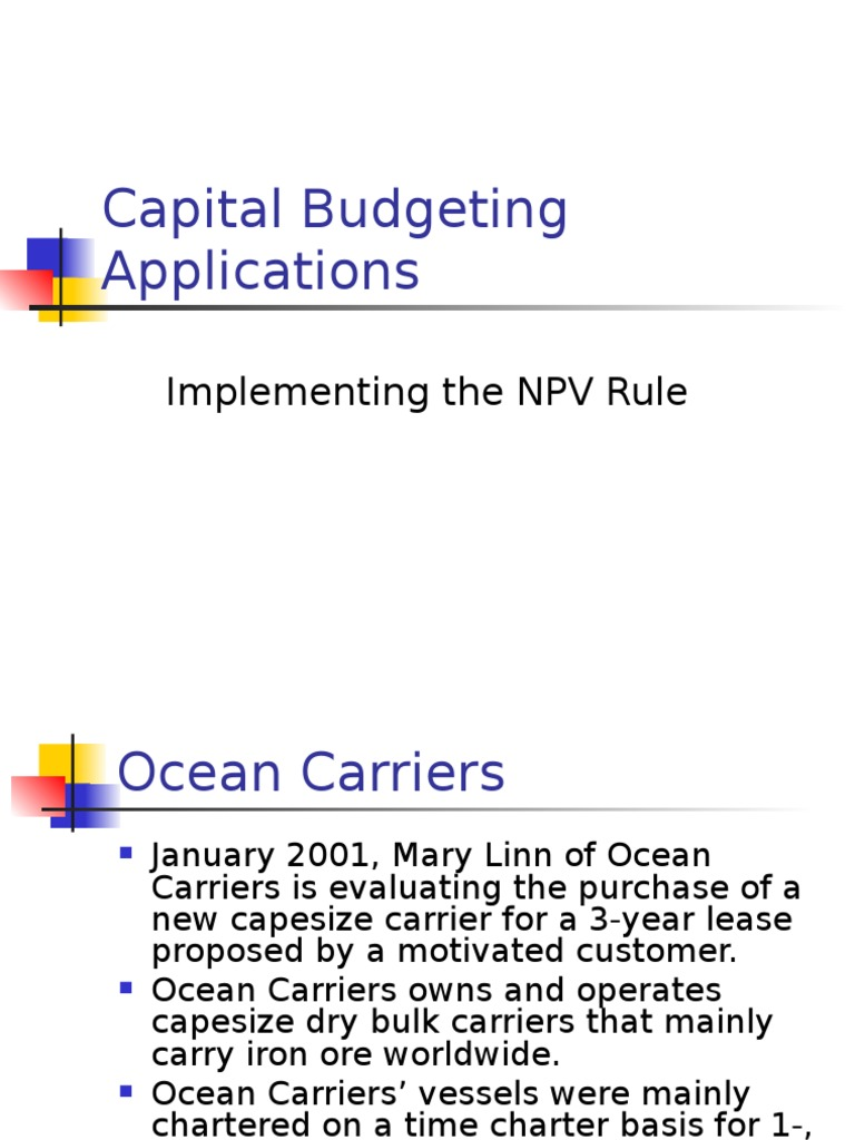 ocean carriers case solution npv
