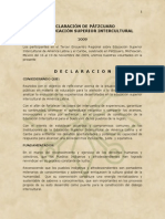 Patzcuaro. Declaración s/ Ed Sup Intercultural 2009