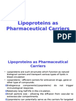Lipoproteins as Pharmaceutical Carriers