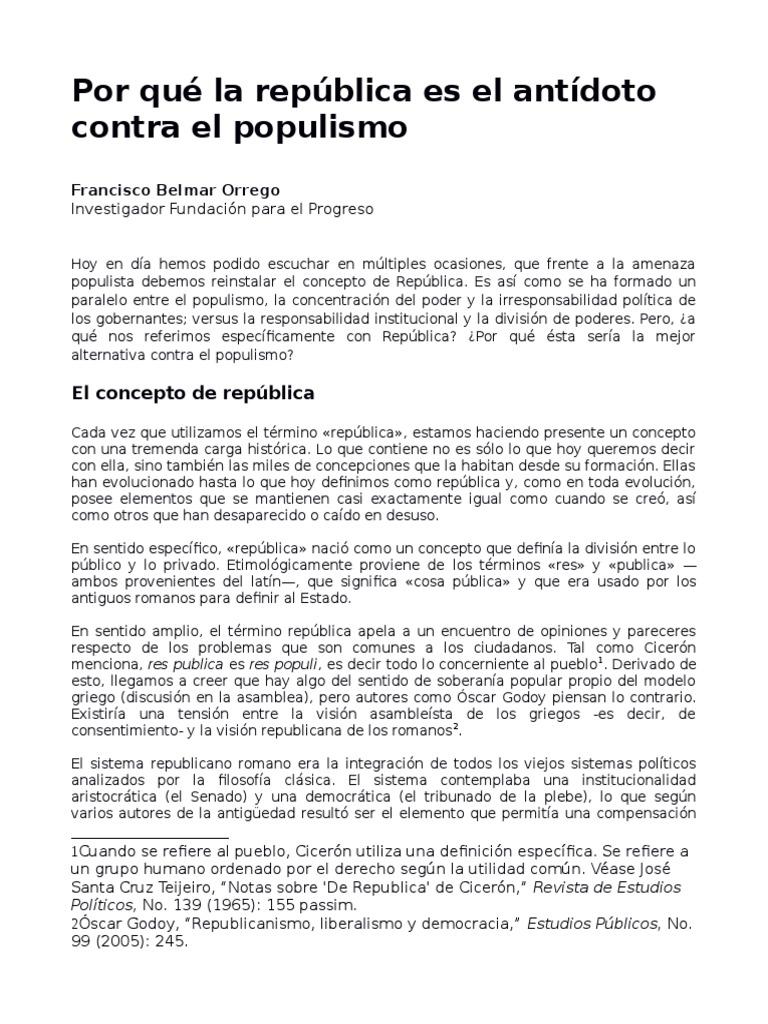 Por Que La Republica Es El Antidoto Contra El Populismo