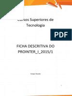 Ficha descritiva Prointer I 2015 1 Online TECS Ficha Descritiva