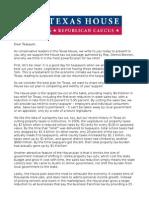 "Texas House Republican Caucus - ""Dear Taxpayer"" Letter"