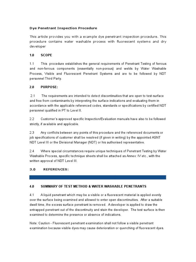PT Proecedure | Nondestructive Testing | Materials