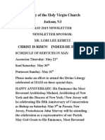Nativity of the Holy Virgin Church - Newsletter - May, 2015