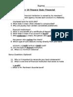 financial institutions quiz