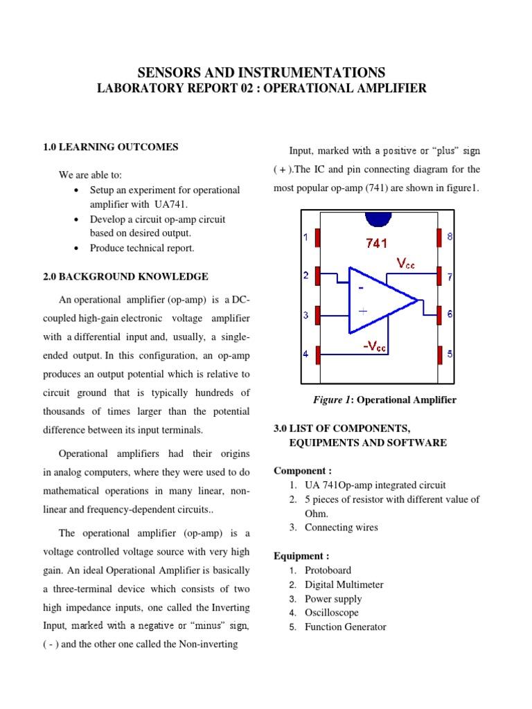 Sensor Lab Report Op Amp Operational Amplifier 741 Diagram