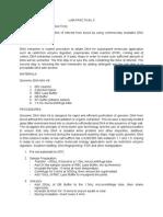 Lab Practical 4:Gel electrophoresis | Agarose Gel
