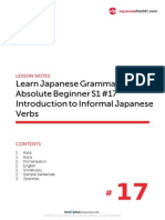 17. Absolute Beginner #17 - Introduction to Informal Japanese Verbs - Lesson Notes